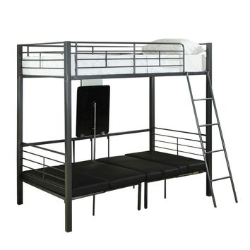Charcoal Grey Metal Twin Bunkbed W/ Play-Sit-Sleep Area
