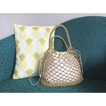 New Vintage Gold Macrame Fisherman Net Handbag