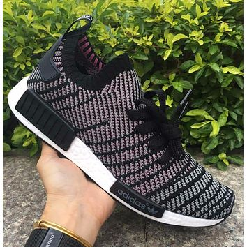 Adidas NMD R1 Stlt Spring Summer 2018 Line up Black/purple Running Sport Shoes Camouflage Sneakers Casual Shoes