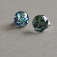 Blue Opal Post Earrings, Petite Dainty, Sterling Silver Post Stud Earrings, Blue Tiny Glass Cabochon,