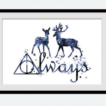 Harry Potter watercolor poster Harry Potter Always art print Always Harry Potter decor Home decoration Gift idea Kids room wall decor W695