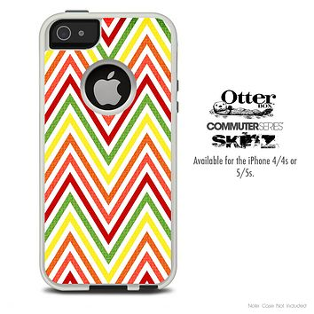 The Yellow & Red Chevron Sharp Pattern Skin For The iPhone 4-4s or 5-5s Otterbox Commuter Case