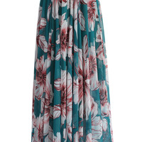 Marvelous Floral Maxi Skirt in Turquoise Multi