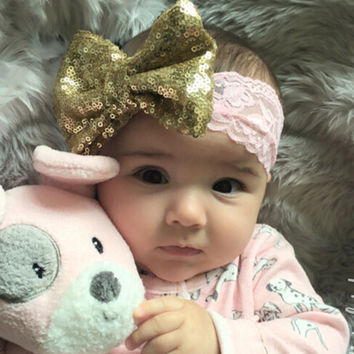 2016 NEW Dazzle Bow with Lace Headband Big Bow Lace Headband Baby Girl Headband Baby Girl Sequin Hair Accessories 1 PC
