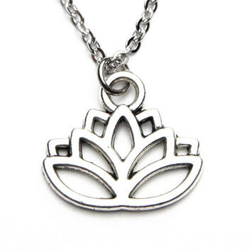 Lotus Flower Small Silver Hollow Customizable Choker Necklace Earrings