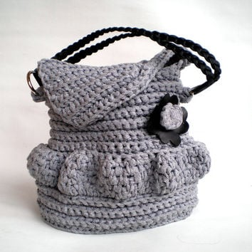Black Flower Crochet Purse, Handmade OOAK crochet Bag, fall fashion, Shoulder Bag, grey with eco leather inserts women Purse/Bag
