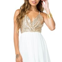 Surplice Sequined Flare Dress