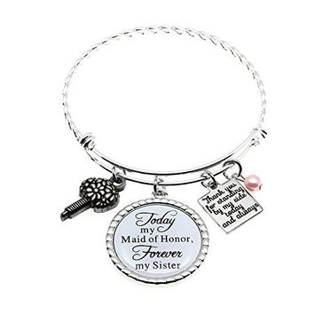 MsClover Maid of Honor Gift Bridesmaid Gift Always my Sister Bangle Today My Maid of Honor Forever My Sister Gift Wedding Adjustable Bracelet