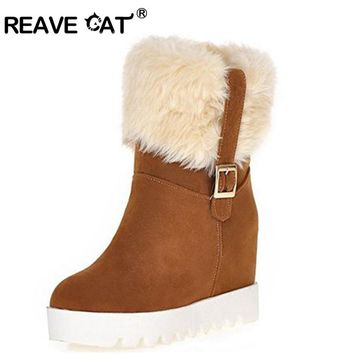 REAVE CAT Fur boots Hidden wedges Platform Snow boots Snow shoes Woman winter shoes  High heels Keep Warm Winter boots Feathers