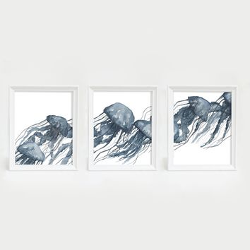 Watercolor Blue Jellyfish Triptych Wall Art Print