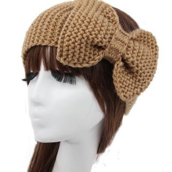 Women Knot Knit Headband Bow Crochet Turban Head Wrap Hair Accessories-4