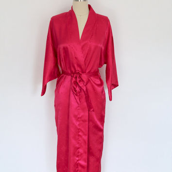 Vintage Satin Robe / Neiman Marcus / Hot Magenta Pink  / 1980s 80s / Size Medium M Large L