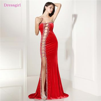 Red 2018 Prom Dresses Mermaid Sweetheart Beaded Crystals Velvet Slit Sexy Long Women Prom Gown Evening Dresses Robe De Soiree