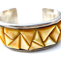 Mother Of Pearl Cuff Bracelet Sterling Silver Vintage Boho Chic Jewelry LJ
