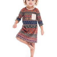 Toddlers Hacci Aztec Dress, Rust (Size 2T)
