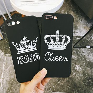 BROTOLA King Queen Crown Case For iphone X 7 8 6 6S Plus Case TPU Soft Phone Case For iphone 7 8 6 6s Cover Shell Funda Coque