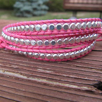 Sterling Silver Triple Pink Beaded Leather Wrap Bracelet - Chan Luu Style