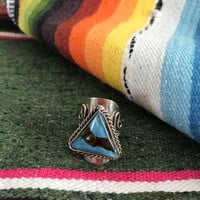 Unusual Vintage silver fused glass inlay ring