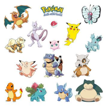 Pocket Monster Pokemon Wall Sticker for Kids Room Home Decoration Pikachu Wall Decal Amination Poster DIY Game Cartoon Wallpaper