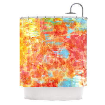 "Ebi Emporium ""Pastel Jungle"" Orange Red Shower Curtain"