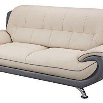 American Eagle Furniture Highland Bonded Leather Living Room Sofa with Pillow Top Armrests, Light/Dark Gray