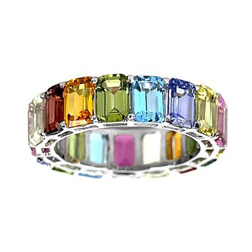 10.21tcw Emerald-Cut Floating Rainbow Sapphire in 14K White Gold Eternity Band