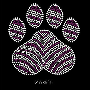 Paw with Zebra - Purple zebra paw - Rhinestone hot fix iron on Transfers - DIY shirts t-shirts - Mascot team logos