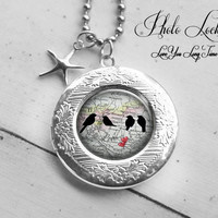 Birds on Wired Locket necklace, Vintage Silver Photolocket, Bridemaid's Photolocket necklacet