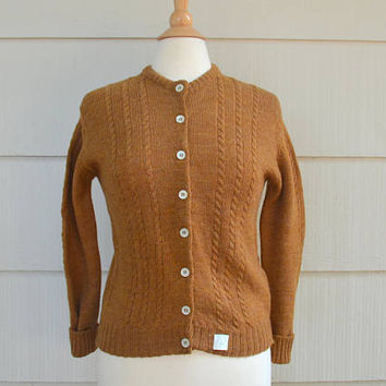 Vintage Wool Cable Knit Sweater, Brown Wool Cardigan Sweater, NOS With Tags, Size 36, Button Down, Ladybug, 1960s