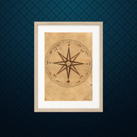 Drawing of a compass rose by Galileo - Science art poster - recovered image