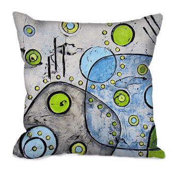 Mid Century Modern Throw Pillow in gray, blue and lime green