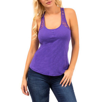 Lace Strap Basic Tank Top in Purple