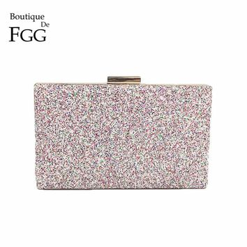 Boutique De FGG Dazzling Pink Multi Glitter Women Evening Clutches Handbag Wedding Party Dinner Metal Day Clutch Purse Bag