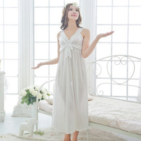 Free shipping women White sexy black nightdress girls plus size Large pink long Sleepwear nightgown M1802-1