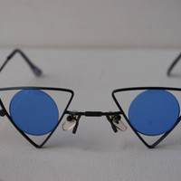 Vintage Deadstock Blue Triangle Circle New Wave 80s Steam Punk Sunglasses A79