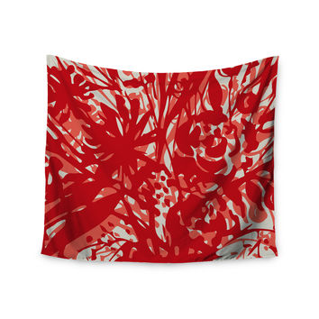"Patternmuse ""Inky Floral Poppy"" Red Coral Painting Wall Tapestry"