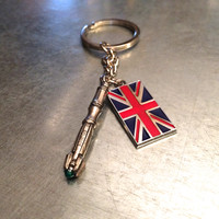 Time Lord 11 with Union Jack Keychain, Union Jack Key Chain