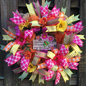 Everyday Wreath, Burlap Wreath,Deco Mesh Wreath,Floral Wreath,Front Door Wreath, Welcome Wreath,Ribbon Wreath,All Season Wreath,Housewarming