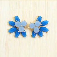 Blue Tail Feather Earrings