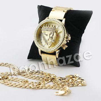 HIP HOP ICED OUT RAONHAZAE GOLD FINISHED LAB DIAMOND WATCH CUBAN CHAIN SET7