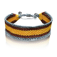 Men's Striped Sailor Bracelet Amauta: Hand-Knotted Nylon Adjustable Pull Cord Macrame Friendship Bracelet with Hematite Stones in Grey, Gold and Brown by Rumi Sumaq