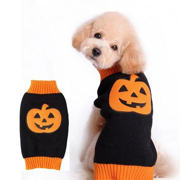 PACGOTH Pet Sweaters Cat Dog Puppy Sweater Halloween Christmas Clothes Pumpkin Pattern Warm Coat for Autumn Winter Dog Supplies