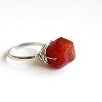 Handmade Wire Wrap Ring with Hexahedral Red Agate Gemstone. Bohemian Gemstone Ring Silver Plated Wire. Nature Lover Ring. Gift for Her.