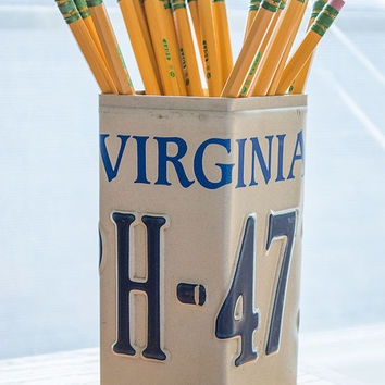 Virginia License Plate Pencil Holder - Pencil Cup - Unique Pencil Cup - Desk Accessories - Office Decor - Pen Cup - Pen Holder - State Decor