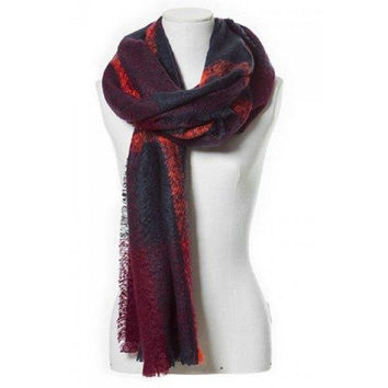 Chic Color Block Plaid Pattern Fringed Loop Yarn Scarf For Women
