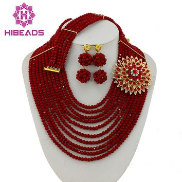 Latest Bridal Gift African Beads Jewelry Set Nigerian Wedding Costume Necklace Earrings Bracelet Set Free Shipping AES807