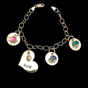 Personalized Sterling Silver Charm Bracelet with Birthstones and Hand-stamped Names!