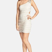 Junior Women's Trixxi Embellished Shoulder Jacquard Body-Con Dress