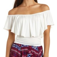 Pom-Pom Trimmed Flounce Off-the-Shoulder Crop Top
