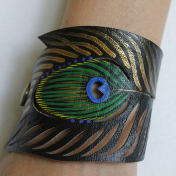 Peacock Feather Cuff Bracelet, Black Faux Leather Hand Painted Cut Feather, Green Blue Purple Gold Peacock Feather